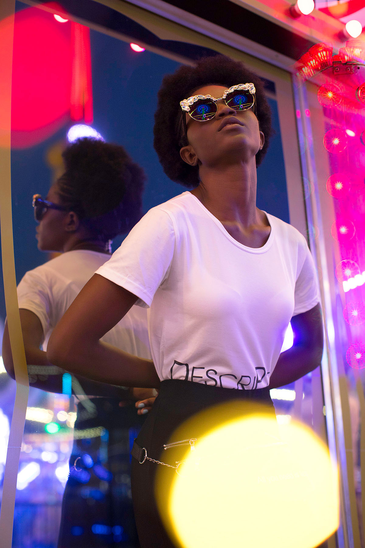 Neon fun fair fashion photoshoot by Loesje Kessels Fashion Photographer Dubai