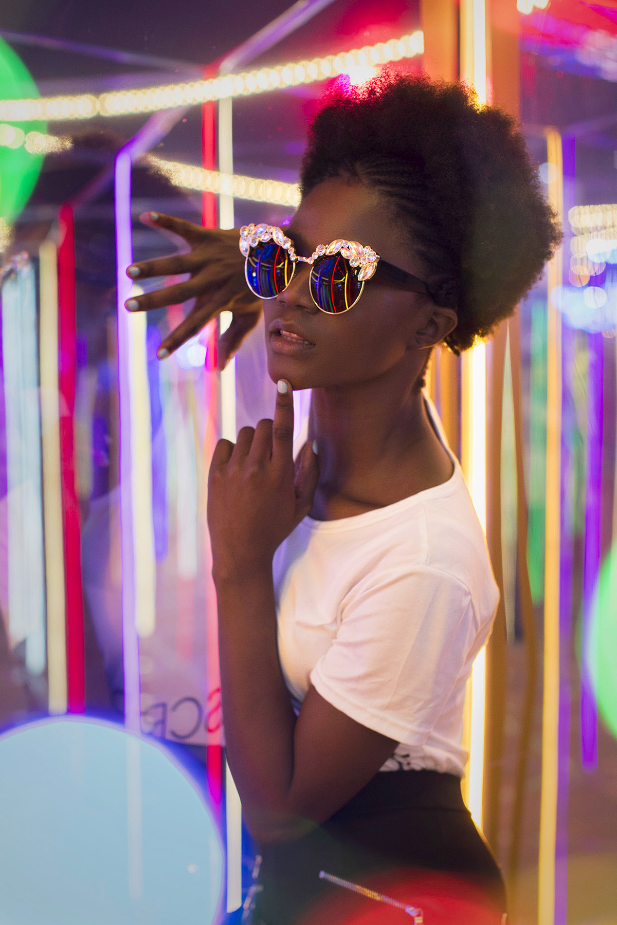 Neon fashion shoot by Loesje Kessels Fashion Photographer Dubai