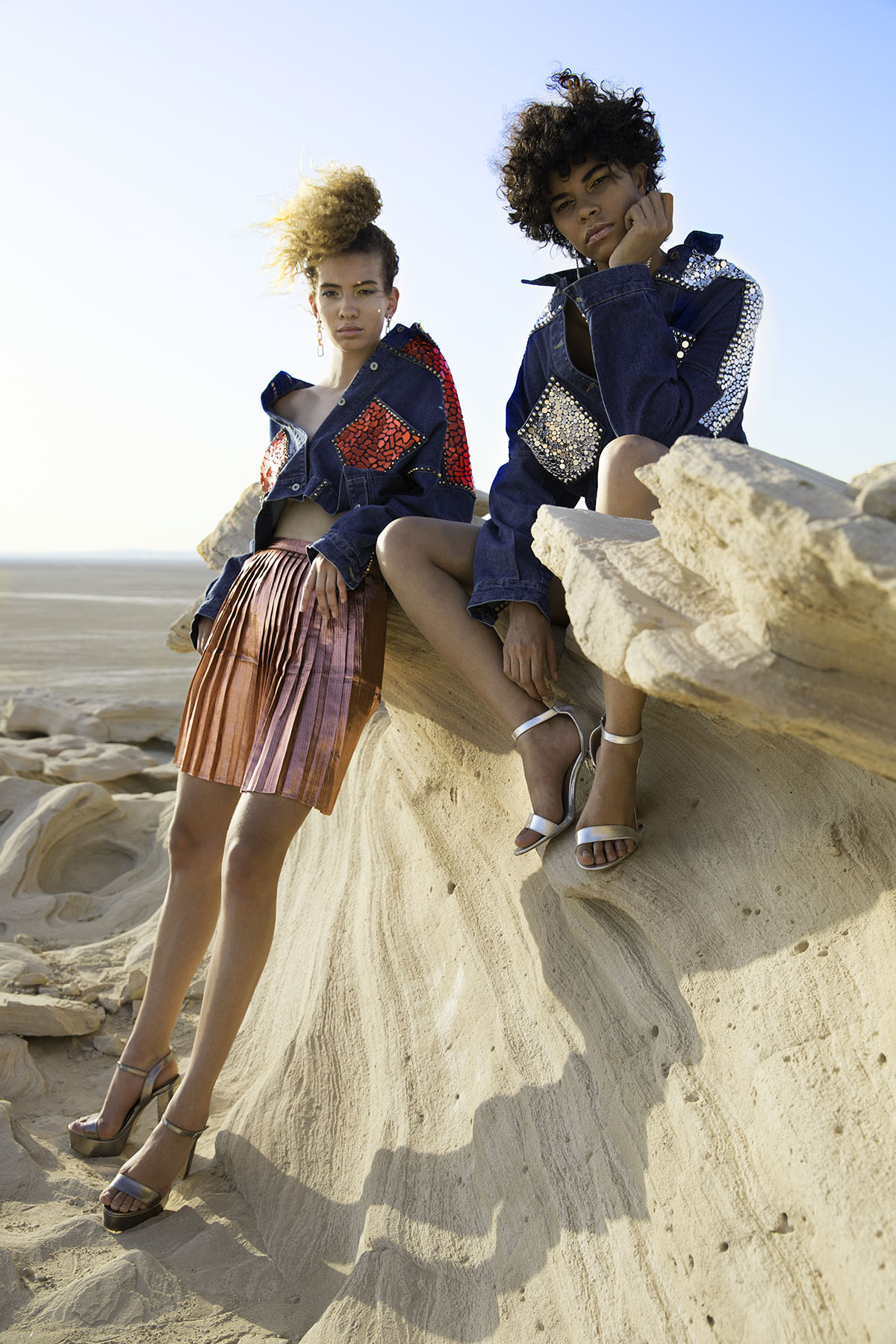 Fashion editorial at Fossil Dunes Abu Dhabi of Atelier Zuhra by Loesje Kessels Fashion Photographer Dubai