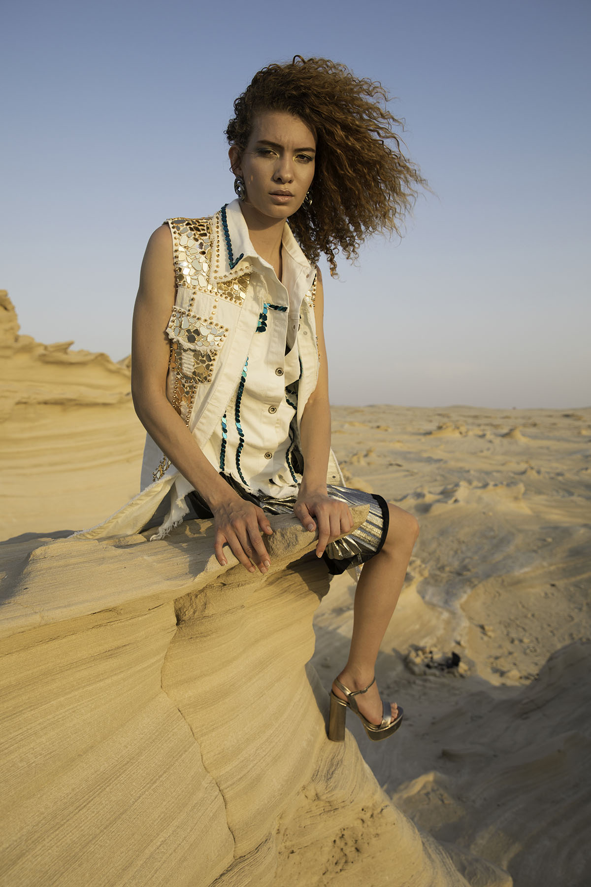 Model Jade from Niche Modeling agency in fashion editorial for Atelier Zuhra by Loesje Kessels Fashion Photographer Dubai