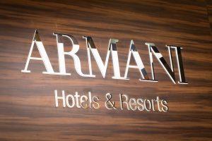 Armani logo at their stand by Loesje Kessels Fashion Photographer Dubai