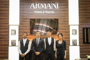 Armani Hotels team at their stand by Loesje Kessels Fashion Photographer Dubai