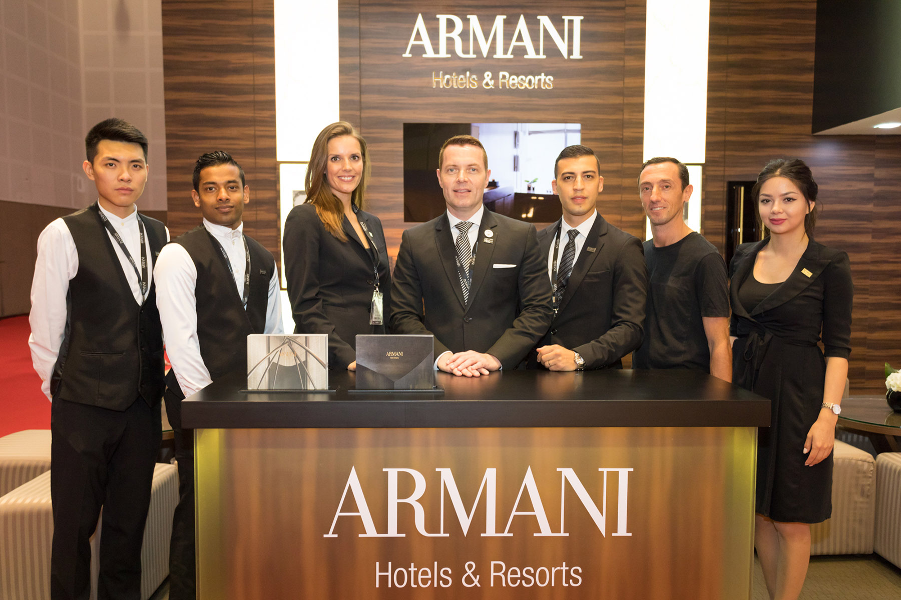 Armani Hotels & Resorts team at the stand by Loesje Kessels Fashion Photographer Dubai