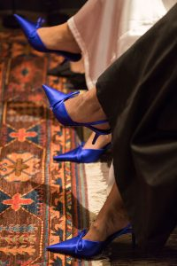 Blue shoes at the Chaumet event in Alserkal Avenue by Loesje Kessels Fashion Photographer Dubai