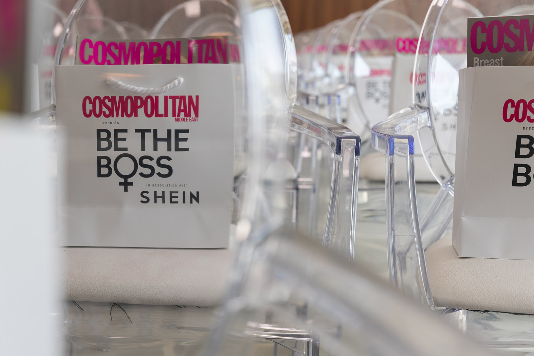 Goodie bags at the Cosmopolitan Shein event by Loesje Kessels Fashion Photographer Dubai