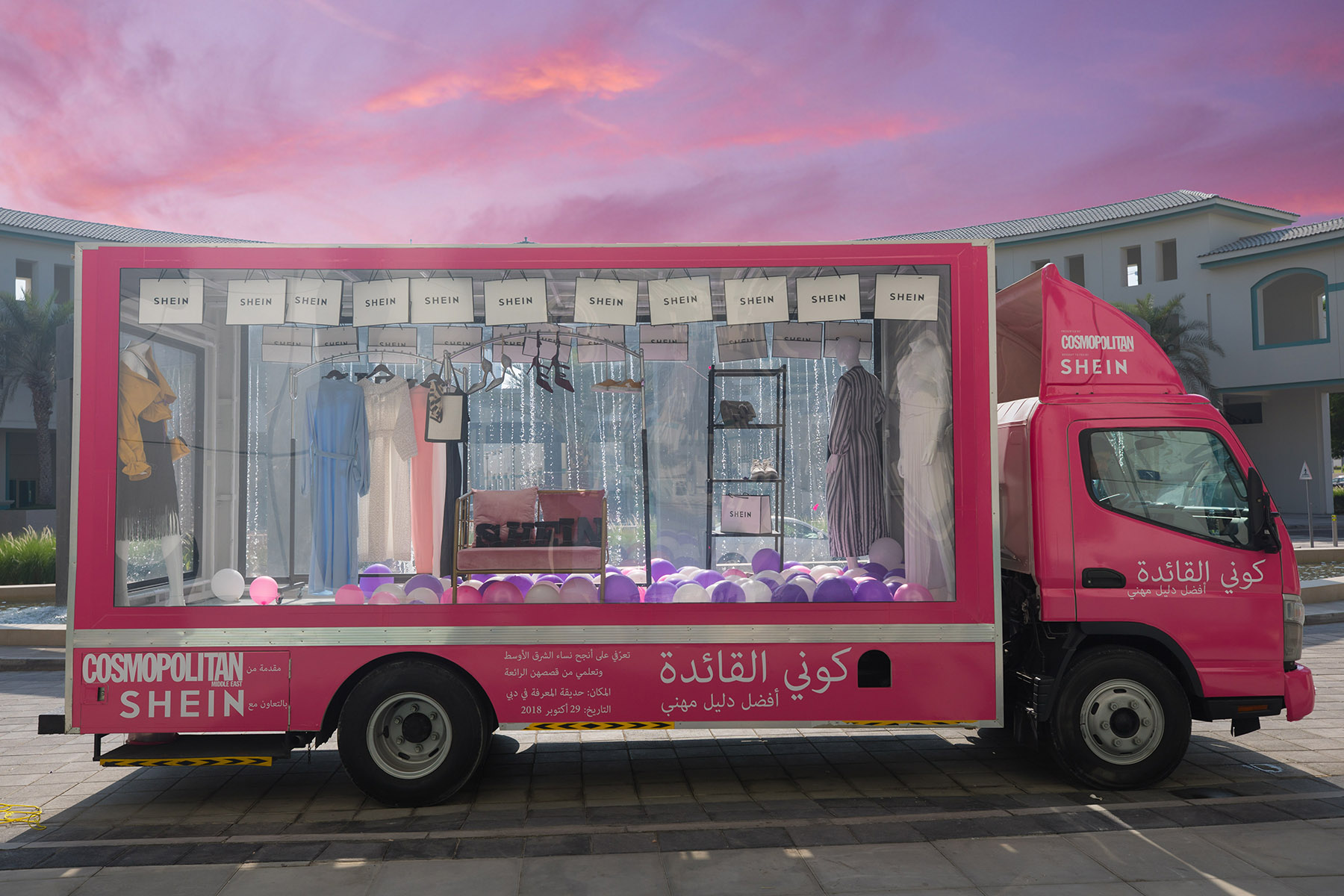 Cosmopolitan Shein truck at the event by Loesje Kessels Fashion Photographer Dubai