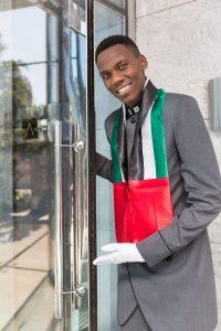 Doorman at Emaar's Address Boulevard by Loesje Kessels Fashion Photographer Dubai