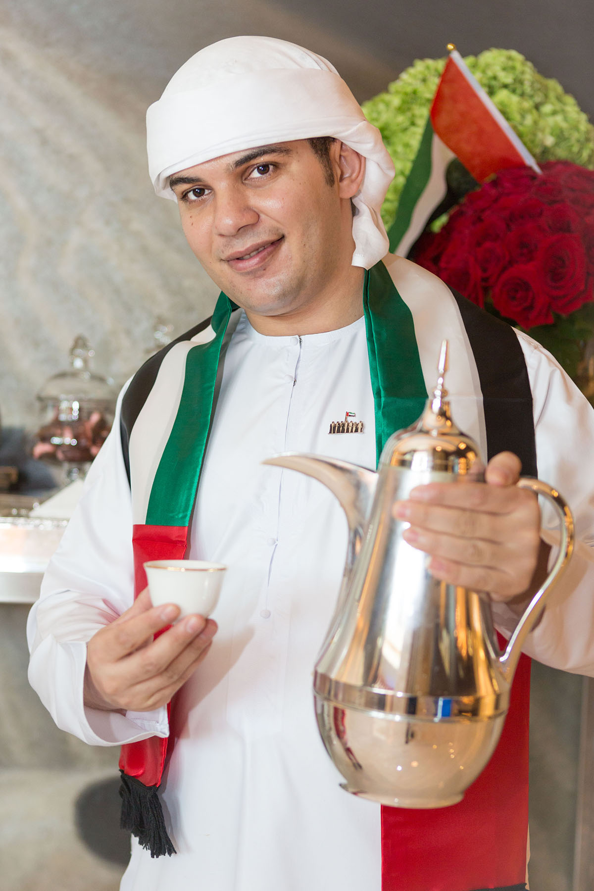 Coffee boy at Emaar's Address Boulevard by Loesje Kessels Fashion Photographer Dubai