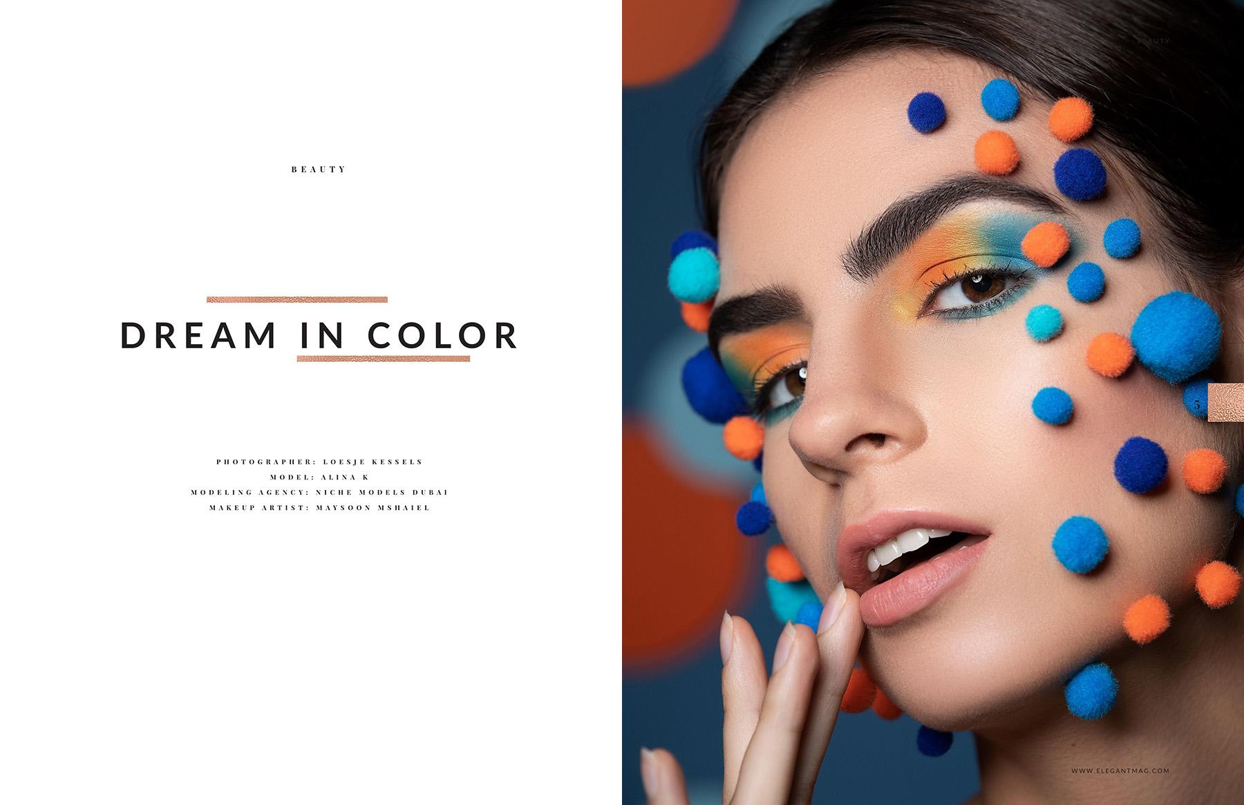 Editorial beauty photoshoot published in Elegant Magazine by Loesje Kessels Beauty Photographer Dubai