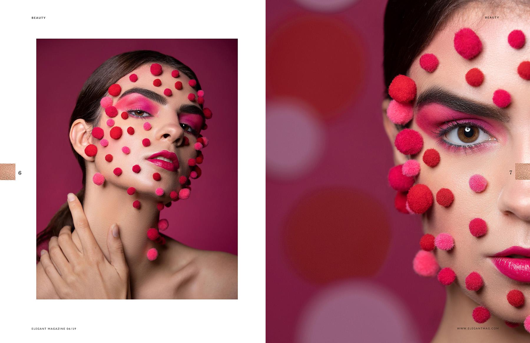 Editorial beauty photoshoot publication in Elegant Magazine by Loesje Kessels Fashion Photographer Dubai