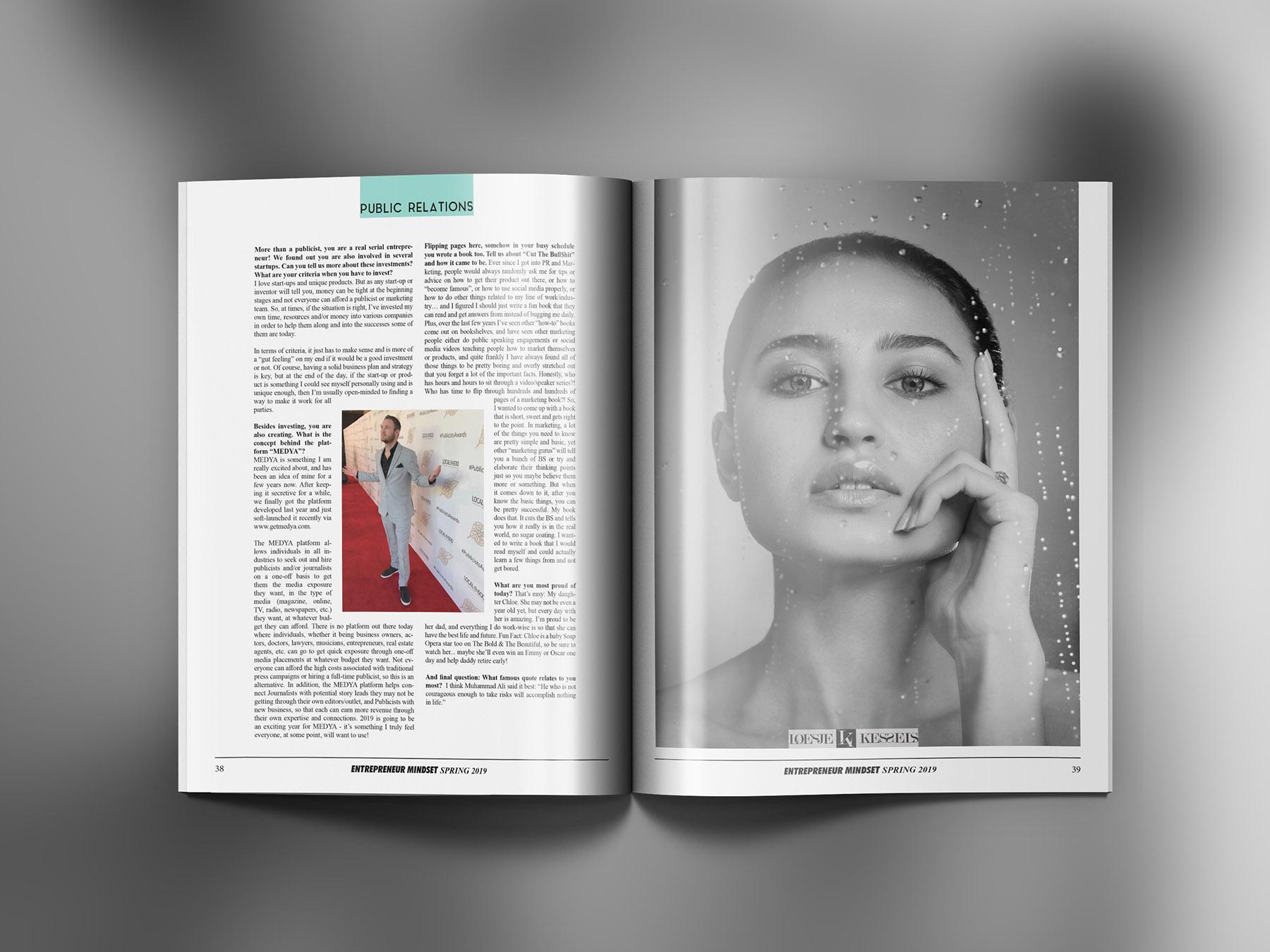 Publication of beauty portrait by Loesje Kessels Fashion Photographer Dubai
