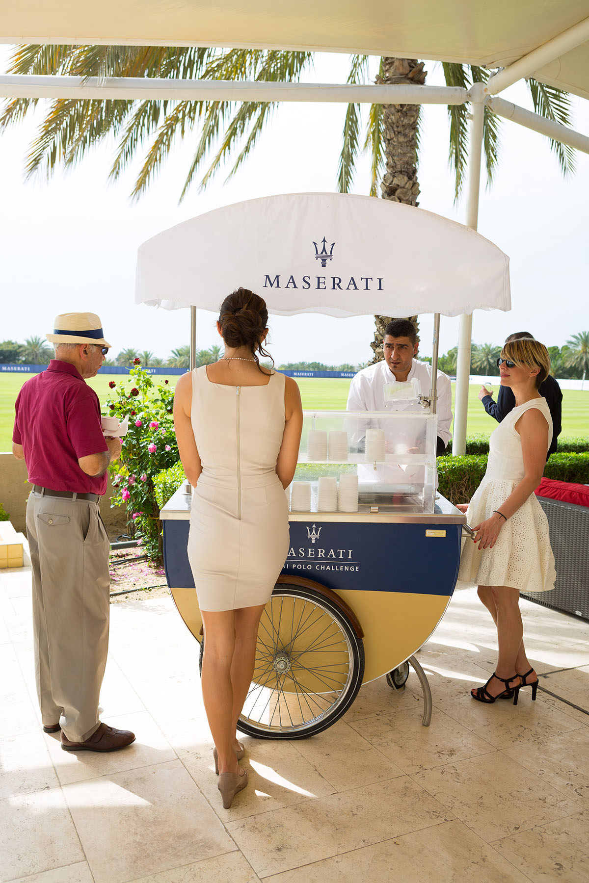 Gelato for the guests at the Maserati Polo event by Loesje Kessels Fashion Photographer Dubai