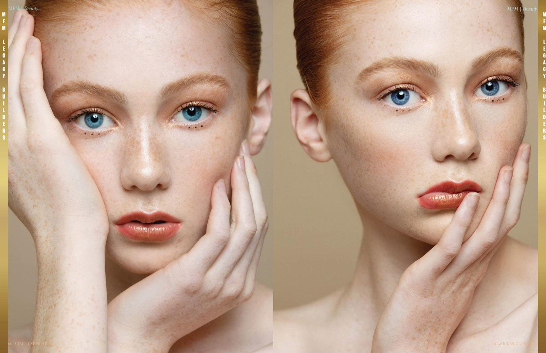 Beauty photoshoot publication with Piper MacKinnon in MFM Magazine by Loesje Kessels Fashion Photographer Dubai