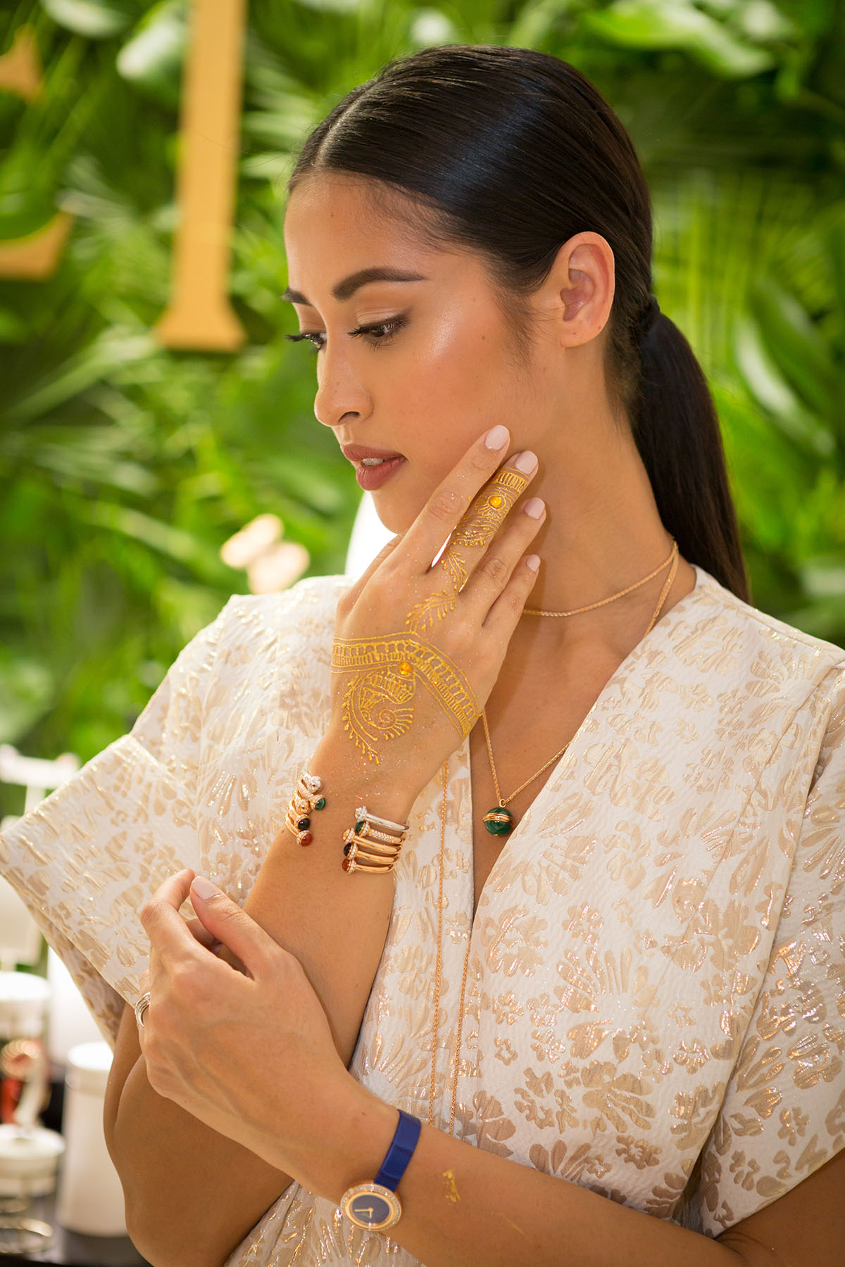 Model showcasing new jewelry at the Piaget event by Loesje Kessels Fashion Photographer Dubai