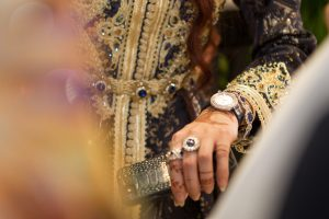 Lady trying on a watch at the Piaget event by Loesje Kessels Fashion Photographer Dubai