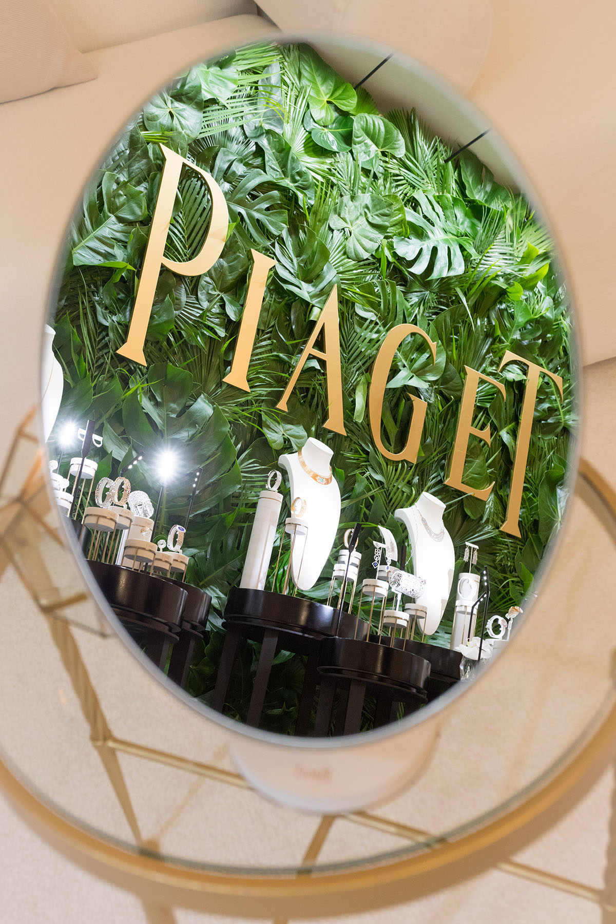 Mirror showing the beautiful set up at the Piaget event by Loesje Kessels Fashion Photographer Dubai