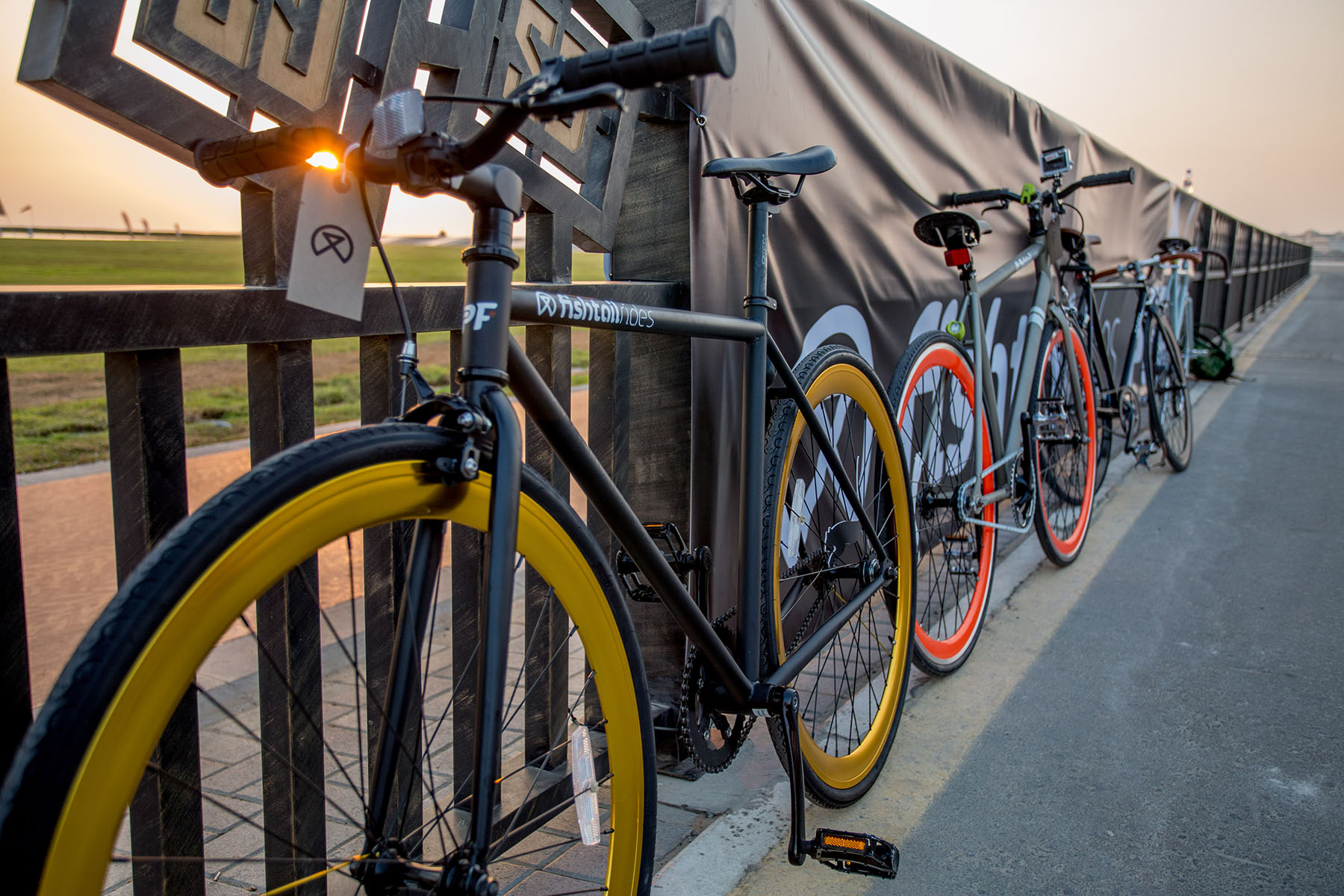 Fishtail ride bikes ready for the PUMA event by Loesje Kessels Fashion Photographer Dubai
