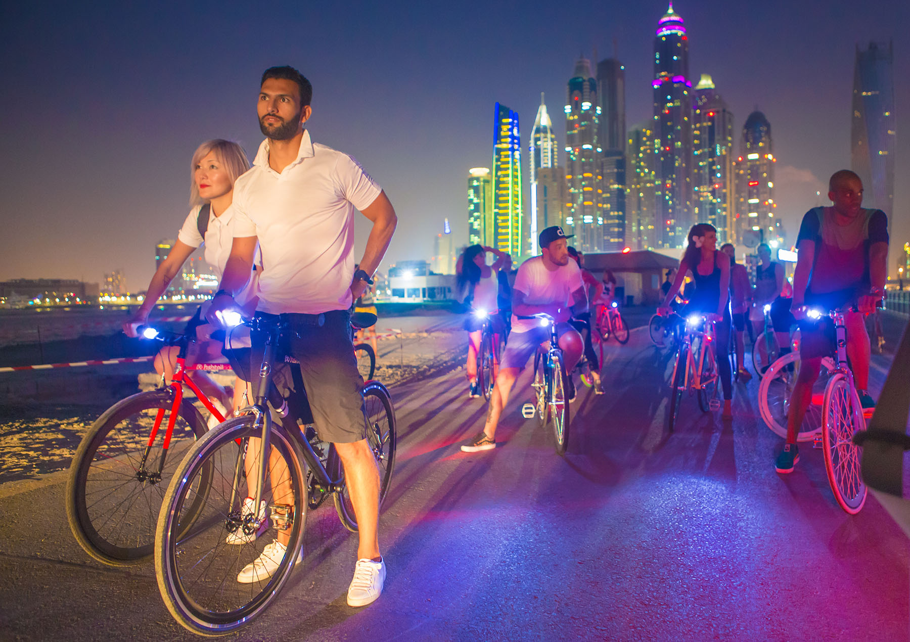Influencers ready for the PUMA bike ride event by Loesje Kessels Fashion Photographer Dubai