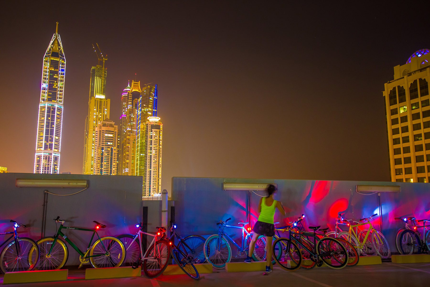 Girl parking her fishtail ride bike at the PUMA event by Loesje Kessels Fashion Photographer Dubai