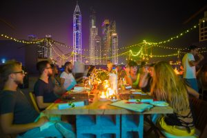 Dinner overlooking the Marina at the PUMA event by Loesje Kessels Fashion Photographer Dubai