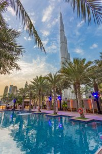 Event set up at the Palace Downtown showing the Burj Khalifa by Loesje Kessels Fashion Photographer Dubai