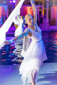 Dancers on the water at The Palace Downtown event by Loesje Kessels Fashion Photographer Dubai