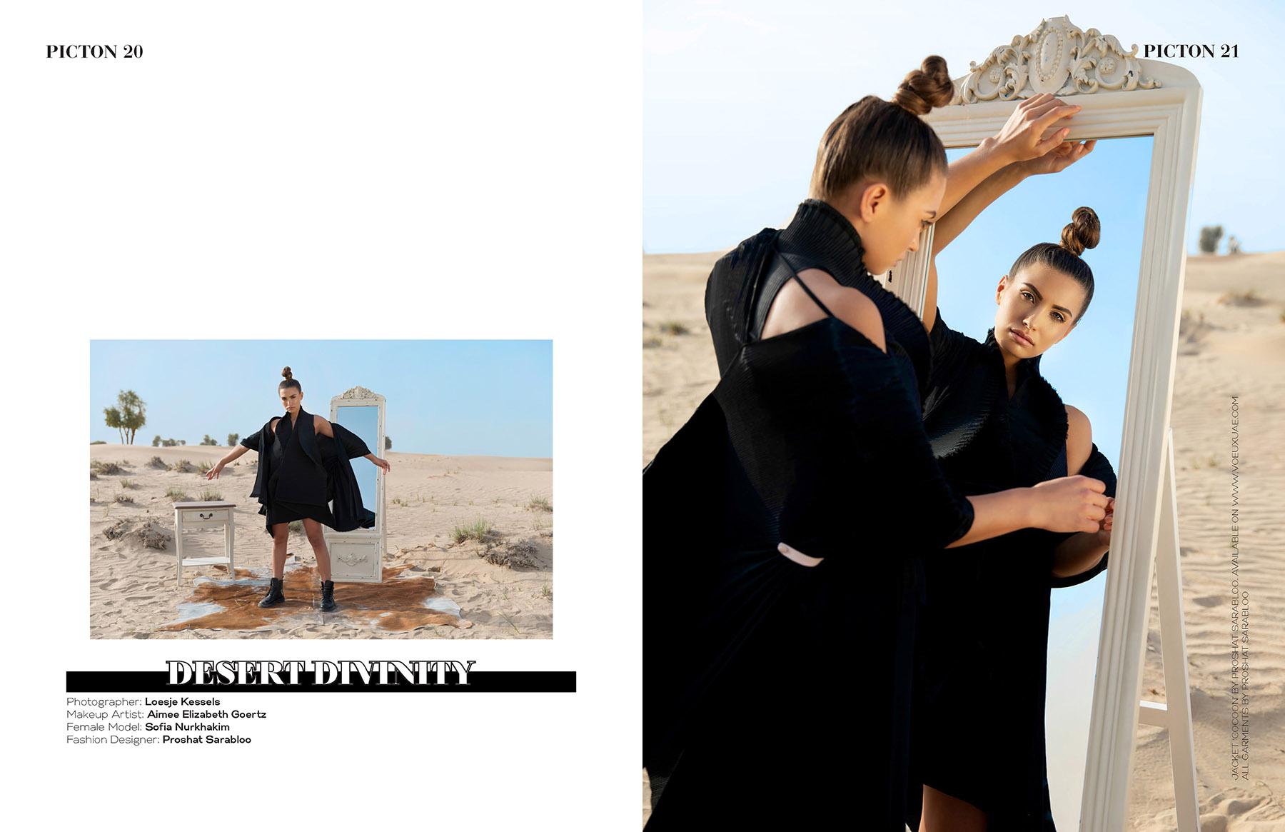 Editorial photoshoot of Proshat Sarabloo published in Picton Magazine by Loesje Kessels Fashion Photographer Dubai