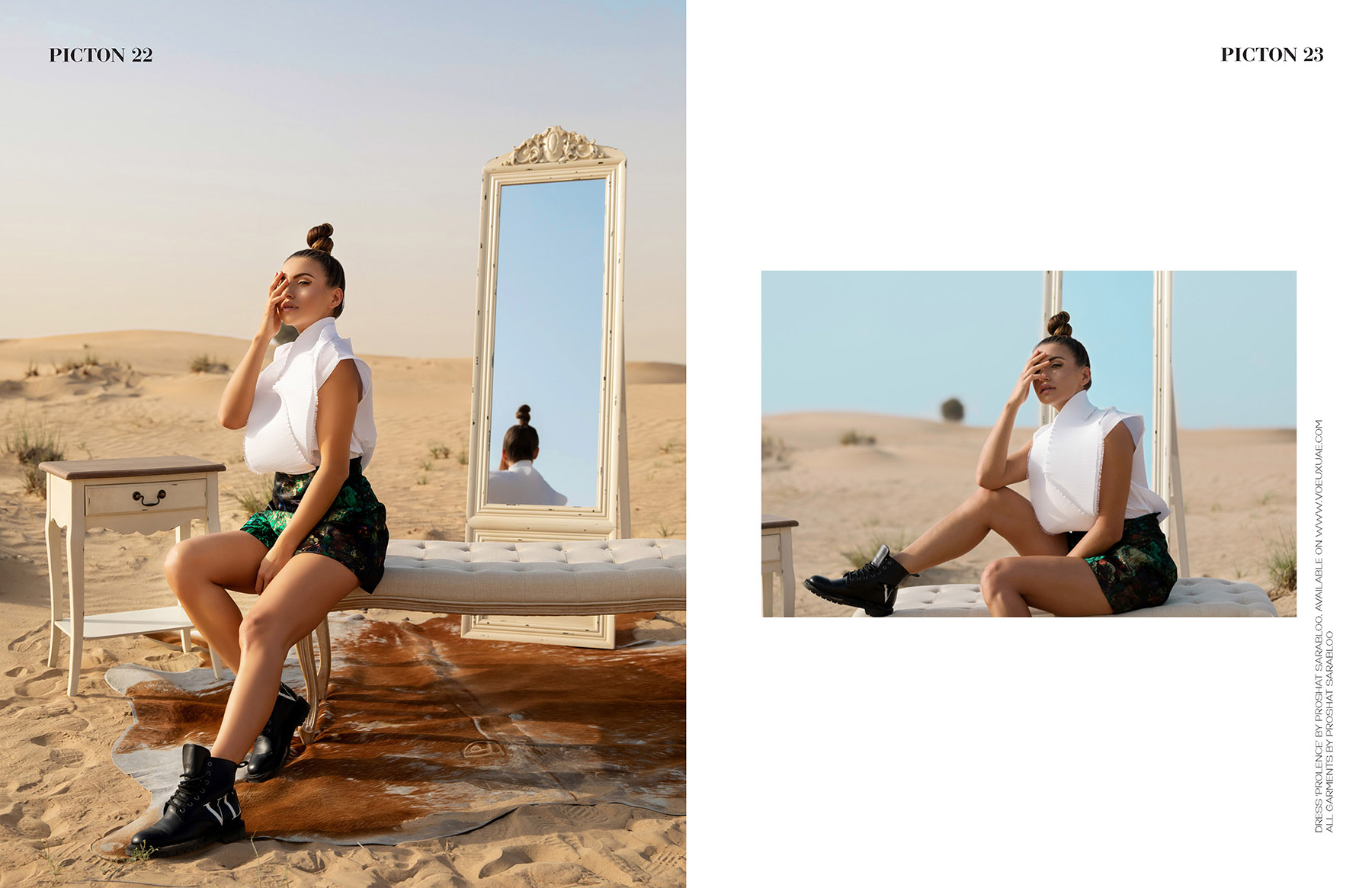 Tearsheet of editorial photoshoot of Proshat Sarabloo in Picton Magazine by Loesje Kessels Fashion Photographer Dubai