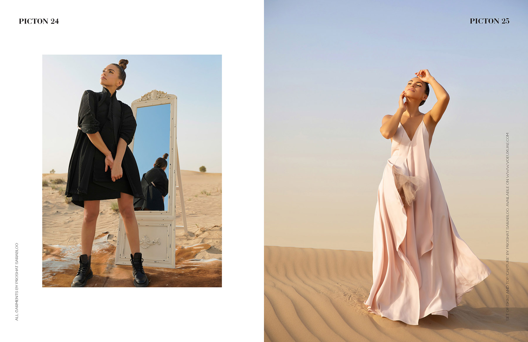 Publication of editorial photoshoot of Proshat Sarabloo in Picton Magazine by Loesje Kessels Fashion Photographer Dubai
