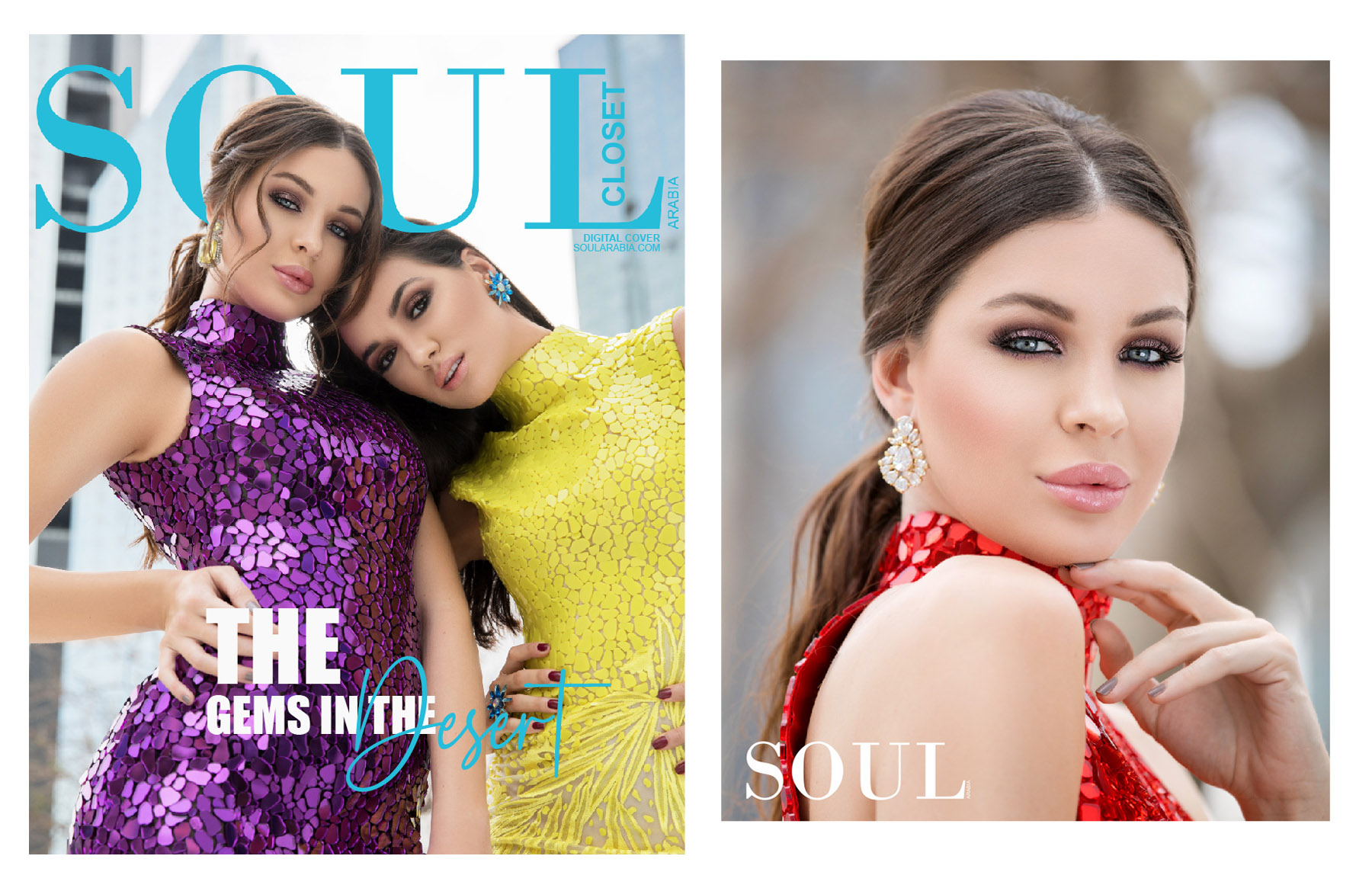 Cover of SOUL Arabia Magazine featuring Atelier Zuhra's new collection by fashion photographer dubai
