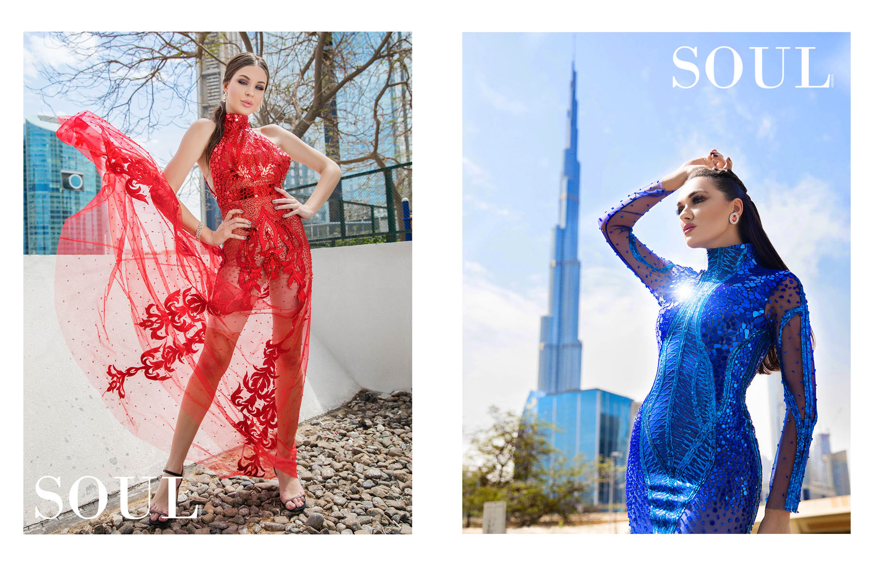 Publication of SOUL Arabia Magazine featuring Atelier Zuhra's new collection by fashion photographer dubai