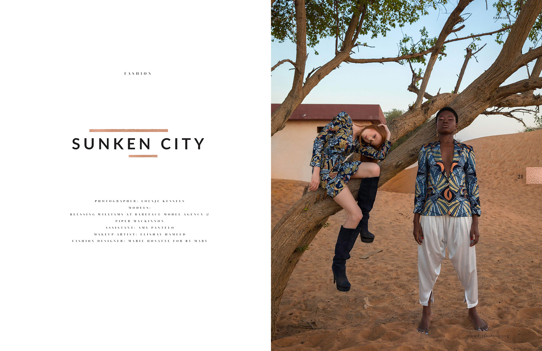 Editorial photoshoot published in Elegant Magazine by Loesje Kessels Fashion Photographer Dubai