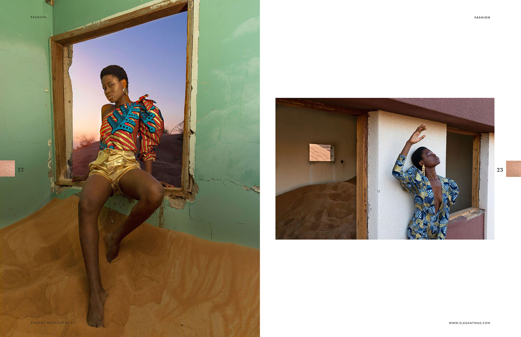Stunning editorial photoshoot in the desert ghost town Al Madam by Loesje Kessels Fashion Photographer Dubai