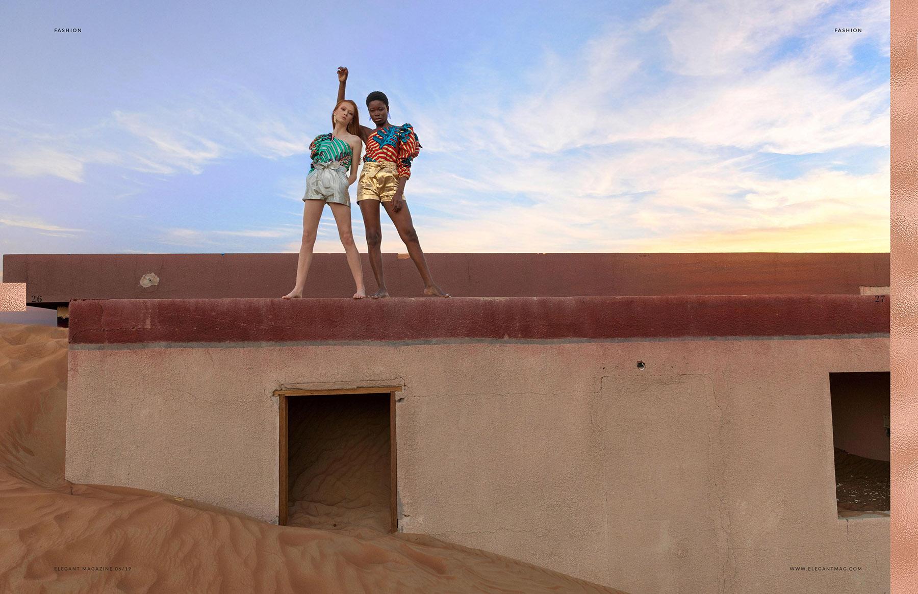 Stunning desert photoshoot published in Elegant Magazine by Loesje Kessels Fashion Photographer Dubai