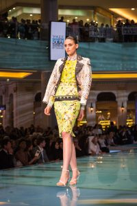 Model on the runway for the Vogue Fashion Show event by Loesje Kessels Fashion Photographer Dubai