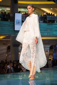 Model on the runway at the Vogue Fashion Show event by Loesje Kessels Fashion Photographer Dubai