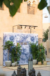 Backdrop set up at Al Seef of DIOR's cruise 2020 collection by Loesje Kessels Event Photographer Dubai