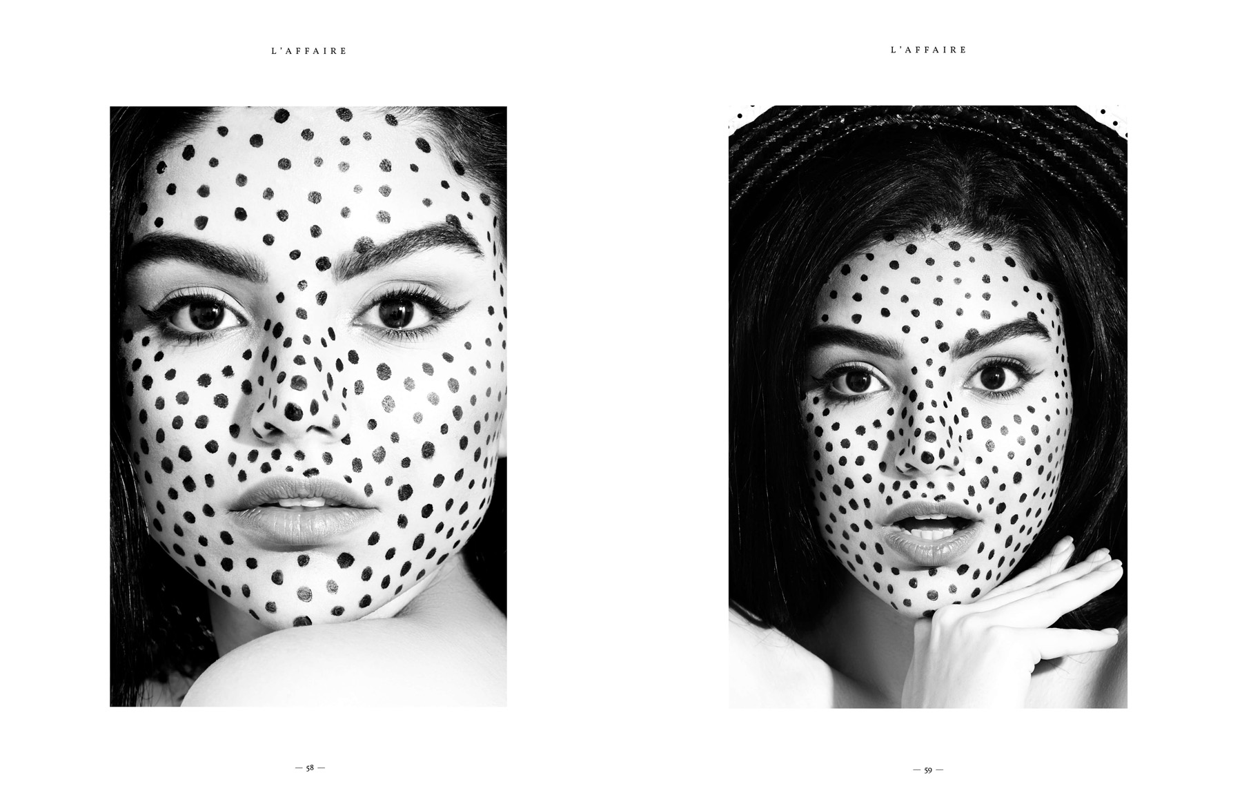 Black and white polkadot beauty editorial photoshoot by Loesje Kessels Fashion Photographer Dubai
