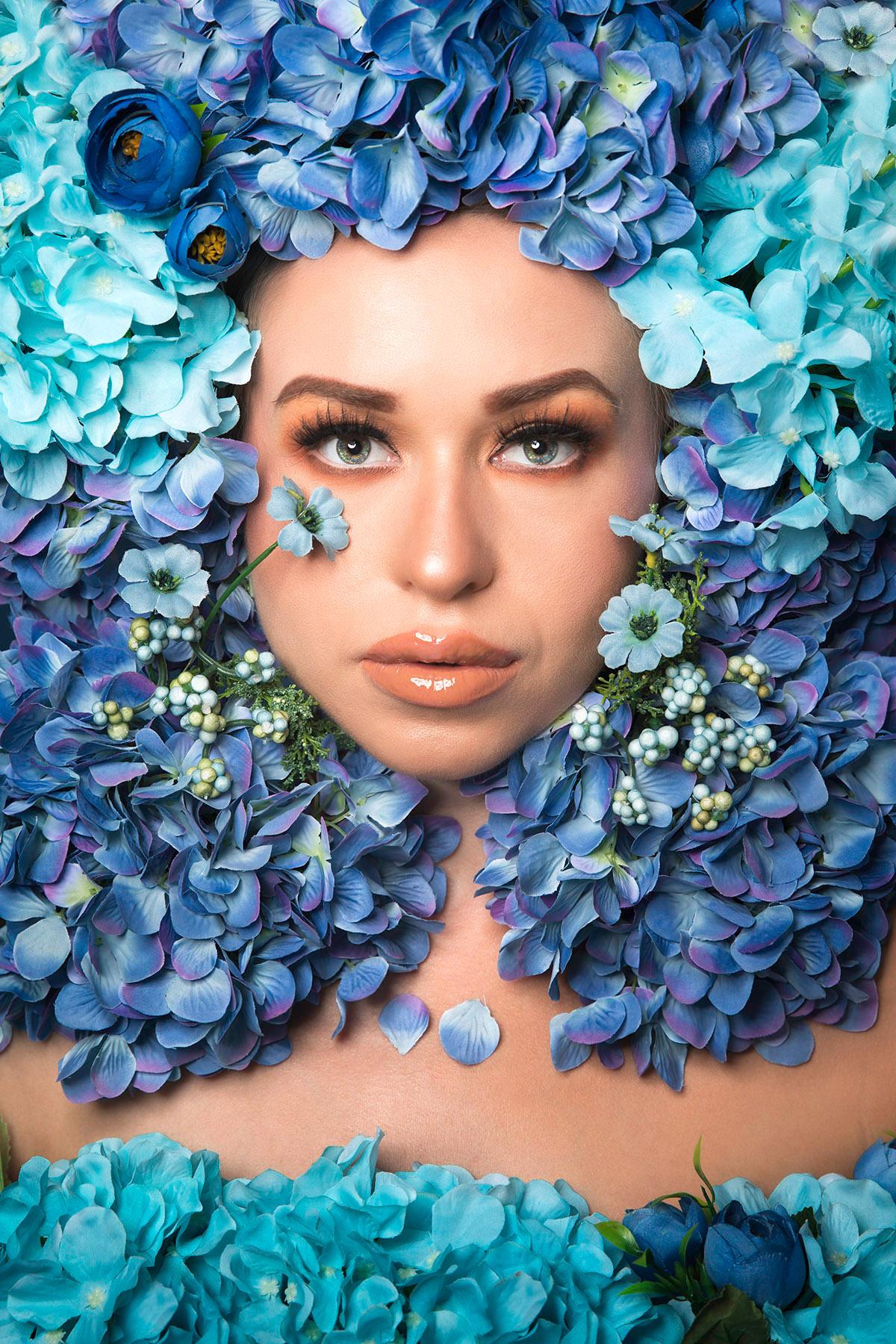 Beauty editorial 'Flower Fairy' in blue by Loesje Kessels Fashion Photographer Dubai