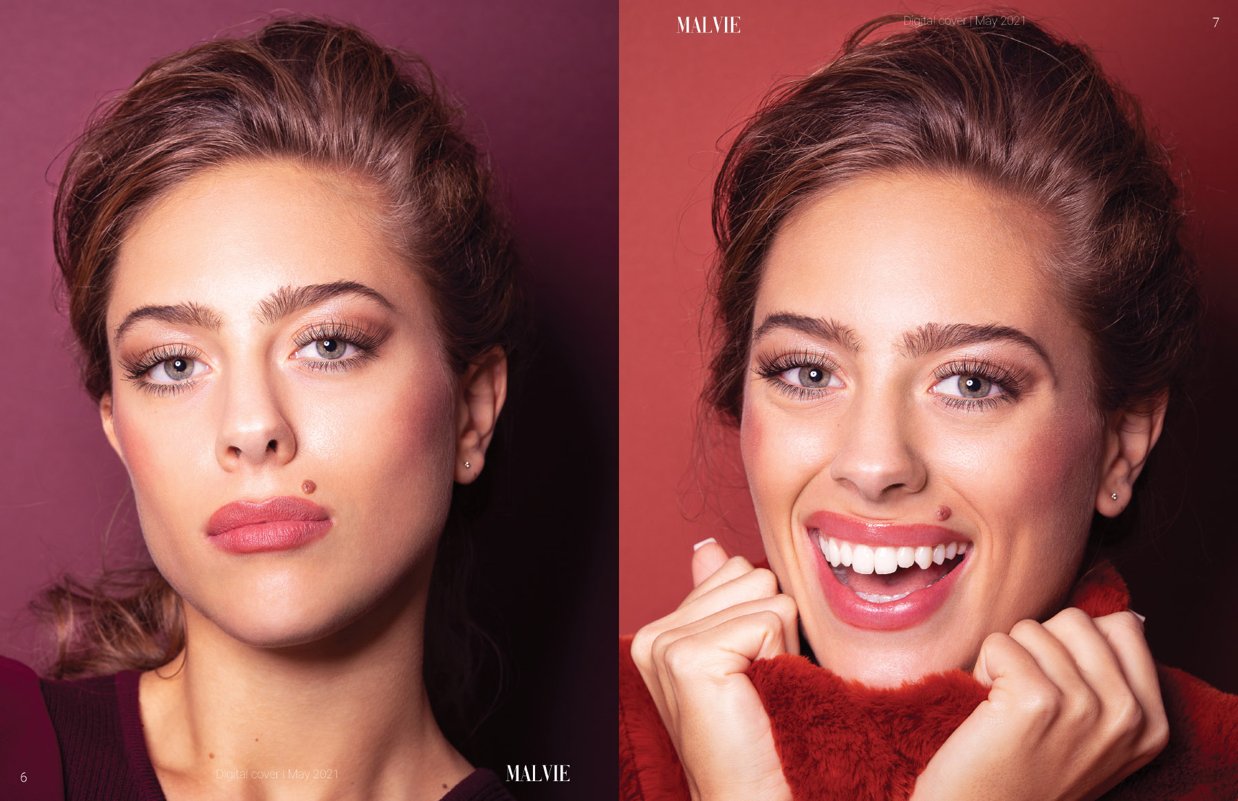 Beauty shoot with model Fleur Weidner published in MALVIE Magazine photographed by Loesje Kessels